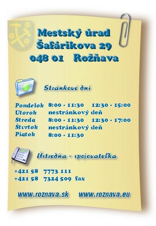 Mssto Rožňava, Mestský úrad Rožňava - úradné hodiny
