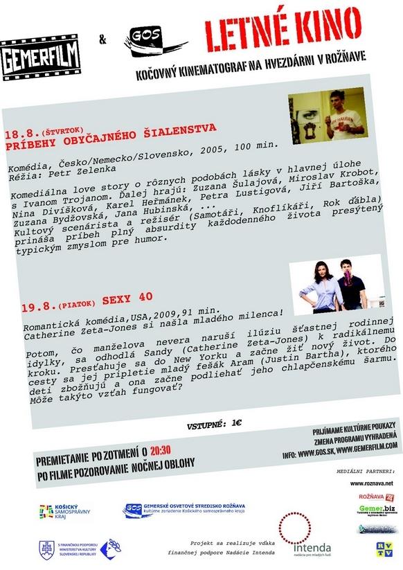 Letné kino - 18. a 19. augusta 2011