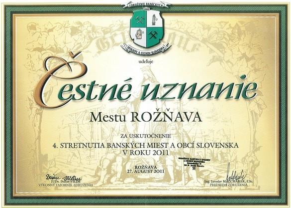 Čestné uznanie mestu Rožňavu